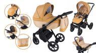 Mama Kiddies Legend Collection - ekokůže, dětský multifunkční kočárek 3v1 v béžové barvě + dárky
