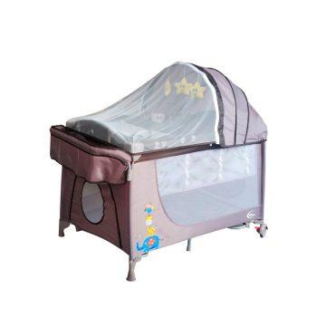 Cestovná postieľka Mama Kiddies VIP farba hnedá (výškovo nastaviteľné dno a hojdací systém) + Sieťka + DARČEK