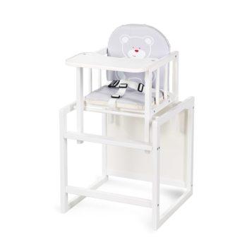 Klups AGA jedálenská stolička -bielo /sivá srdiečková s macíkom