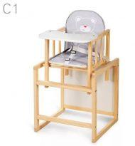 Klups AGA jídelní židle JEDY / šedá srdíčková s macíkem