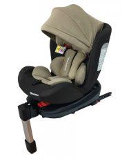 Mama Kiddies Baby Pilot dětská bezpečnostní autosedačka s 360 ° otáčením (0-36kg) a ISOFIX systémem, barva hnědo-béžová + dárek clona proti slunci