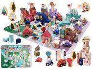 Edukační sada dřevěné bloky s hrací podložkou 135-dílná
