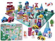 Edukační sada dřevěné bloky s hrací podložkou 128-dílná