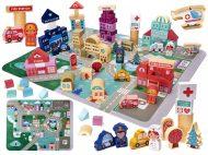 Edukační sada dřevěné bloky s hrací podložkou 100-dílná