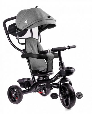 Fix Lite 3v1 tříkolka s vodící páčkou a stupačkami, šedá (sedadlo otočné o 360°)
