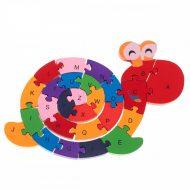 Dřevěná edukační hračka - puzzle ve tvaru šneka
