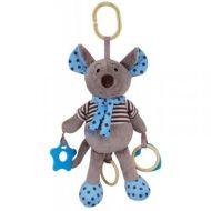 Baby Mix připínací plyšová hračka na kočárek - modrá myška