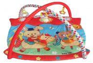 Baby Mix deka na hranie štvorcová s červeným okrajom a jazdiacim zajačikom