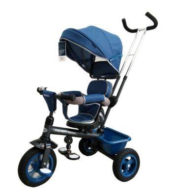 Baby Mix Rider dětská tříkolka s otočným sedadlem o 360 ° s vodicí páčkou a opěrkou na nohy v modré barvě