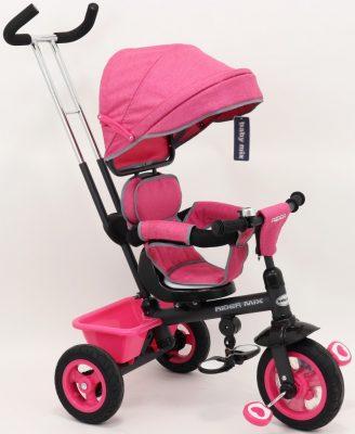 Baby Mix Rider detská trojkolka s otočným sedadlom o 360° s vodiacou páčkou a opierkou na nohy v ružovej farbe