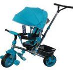 Baby Mix Tour Triker dětská tříkolka s otočným sedadlem o 360 ° s vodicí páčkou a opěrkou na nohy v tyrkysové barvě