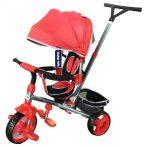 Baby Mix Tour Triker dětská tříkolka s otočným sedadlem o 360 ° s vodicí páčkou a opěrkou na nohy v červené barvě