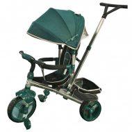 Baby Mix Tour Triker dětská tříkolka s otočným sedadlem o 360 ° s vodicí páčkou a opěrkou na nohy v barvě zelené