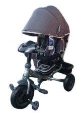 Baby Mix Lux Trike tříkolka s rukojetí a opěrkou na nohy v tmavě šedé barvě (s hracím ovládacím panelem a světly)