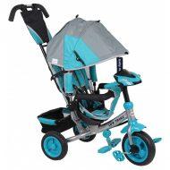 Baby Mix Lux Trike trojkolka s rukoväťou a opierkou na nohy v sivo modrej farbe  (s hracím ovládacím panelom a svetlami)