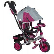 Baby Mix Lux Trike trojkolka s rukoväťou a opierkou na nohy v sivo ružovej farbe  (s hracím ovládacím panelom a svetlami)
