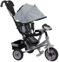 Baby Mix Detská trojkolka s vodiacou rúčkou a opierkou na nohy (hracia prístrojová doska a svetlá) sivá