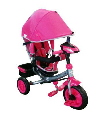 Baby Mix Detská trojkolka s vodiacou rúčkou a opierkou na nohy (hracia prístrojová doska a svetlá) fialová