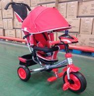 Baby Mix Lux Trike tříkolka s rukojetí a opěrkou na nohy v červené barvě (s hracím ovládacím panelem a světly)