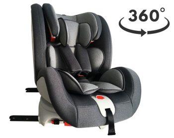 Detská autosedačka MamaKiddies Rotary s 360° otáčaním (9-36kg) s ISOFIX systémom, farba sivá+ DARČEK