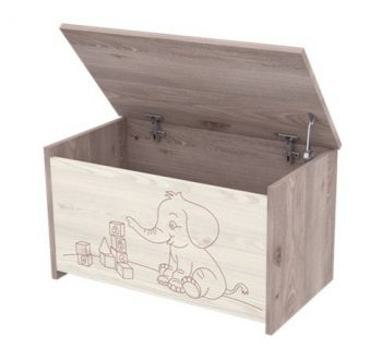 Dětský box se vzorem slůněte na hračky s teleskopem v šedo-hnědé barvě