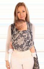 Womar baby šatka na nosenie detí Hug Me- sivá kvetinková